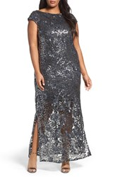Brianna Plus Size Women's Sequin Lace Column Gown Gunmetal
