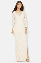 Lauren Ralph Lauren Lace Long Sleeve Column Gown True Champagne