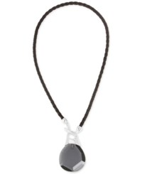 Robert Lee Morris Soho Silver Tone Leather Stone Pendant Necklace Black