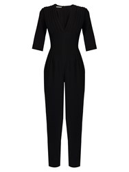 Emilia Wickstead Bela V Neck Wool Crepe Jumpsuit Black