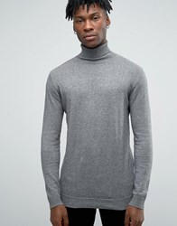 Pull And Bear Pullandbear Roll Neck Jumper In Grey Grey