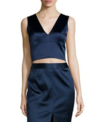 L'agence Iliana Sleeveless Satin Crop Top Royla Size 8 Black Royal