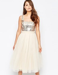 Little Mistress Prom Dress With Heavily Embellished Body Gold Biege