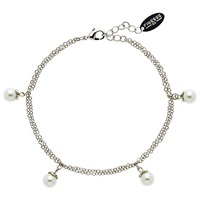 Finesse Flower Top Faux Pearl Bracelet White