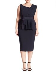 Marina Rinaldi Plus Size Drappo Peplum Sheath Dress Navy Blue