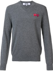 Comme Des Garcons Play 'Double Heart' Jumper Grey