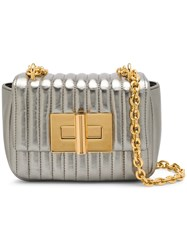 Tom Ford Quilted Mini Shoulder Bag Silver