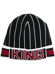 Dolce And Gabbana Striped 'King' Hat Black
