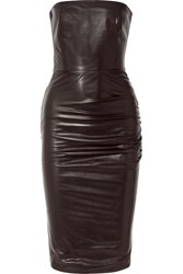 Tom Ford Strapless Ruched Leather Dress Black