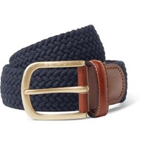 Anderson And Sheppard 3.5Cm Midnight Blue Leather Trimmed Woven Stretch Cotton Belt Navy