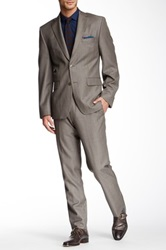 Vince Camuto Taupe Sharkskin Two Button Notch Lapel Wool Suit Beige