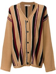 Marni Oversized Striped Cardigan Women Virgin Wool 42 Nude Neutrals