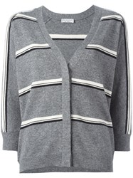 Brunello Cucinelli Striped Cardigan Grey
