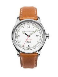 Jack Mason Nautical Stainless Steel And Italian Leather Automatic Strap Watch Brown