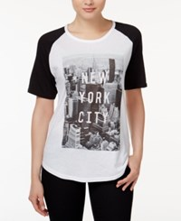 Ntd 2 Kuhl Juniors' New York City Graphic Baseball T Shirt White Black