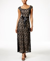 R And M Richards Petite Cap Sleeve Lace Gown Black Taupe