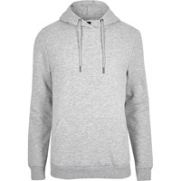 River Island Grey Marl Slim Fit Long Sleeve Hoodie