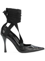 Gucci Vintage Ankle Wrapped Pumps Black