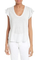 La Vie Rebecca Taylor Women's Flutter Sleeve Linen And Cotton Knit Top