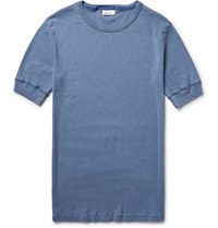 Schiesser Karl Heinz Slim Fit Garment Dyed Cotton T Shirt Blue
