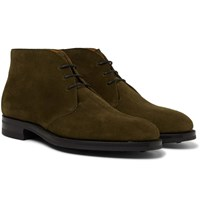 Edward Green Banbury Suede Desert Boots Green