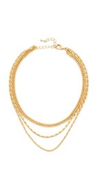 Lacey Ryan Triple Chain Choker Necklace Gold