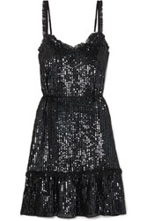 Needle And Thread Tulle Trimmed Sequined Chiffon Dress Black