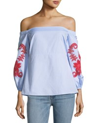 Tanya Taylor Zayden Off The Shoulder Engineered Lace Embroidery Poplin Top Blue