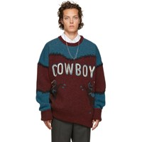 Dsquared2 Burgundy And Blue 'Cowboy' Sweater