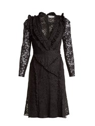 Altuzarra Ourika Valencienne Lace Ruffle Trimmed Dress Black
