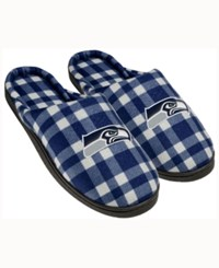 Forever Collectibles Seattle Seahawks Flannel Slide Slippers Navy
