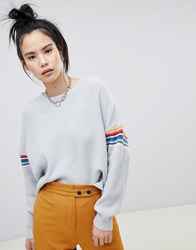 64182b1e6 Save. Pull And Bear Pullandbear Stripe Sleeve Jumper In Grey
