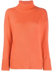 Lamberto Losani Loose Fit Turtleneck Jumper Orange