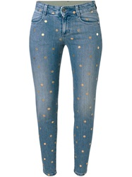 Stella Mccartney Polka Dot Skinny Ankle Glazer Jeans Blue