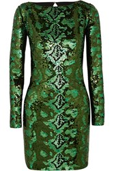 Roberto Cavalli Cutout Sequined Silk Chiffon Mini Dress Green