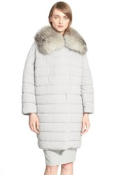 Max Mara Genuine Fox Fur Trimmed Quilted Coat Gray