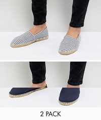 Asos Design Wide Fit Canvas Espadrilles In Navy And Blue Stripe 2 Pack Save