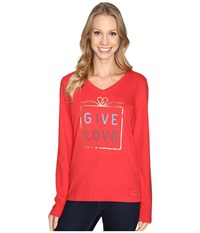 Life Is Good Give Love Gift Long Sleeve Crusher Vee Simply Red Women's Long Sleeve Pullover