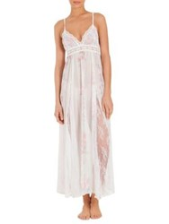Jonquil Petal Floral Print Chiffon And Lace Nightgown Ivory Rose Print