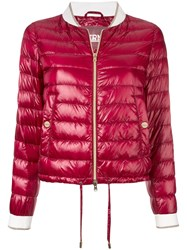 Herno Quilted Cropped Bomber Jacket Red
