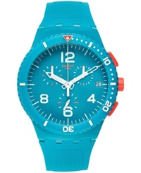 Swatch Unisex Swiss Chronograph Patmos Blue Embossed Silicone Strap Watch 42Mm Susn406