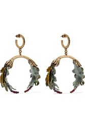 Valentino Garavani Bloomy Enameled Gold Tone Earrings One Size
