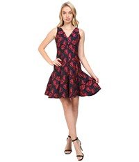 Maggy London Shadow Floral Jacquard Deep V Neck Fit And Flare Dress Red Navy Women's Dress Multi