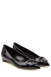 Rupert Sanderson Auric Patent Leather Ballerinas Black