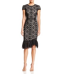 Betsey Johnson Ruffle Hem Lace Dress Black