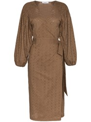 Marysia Pink Sands Embroidered Cotton Wrap Dress Brown
