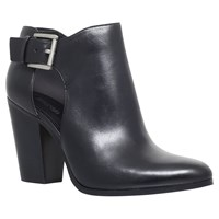 Michael Michael Kors Adams High Block Heel Ankle Boots Black Leather