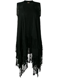 Caravana Sleeveless Fringed Coat Black