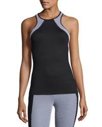 Koral Diviate Mesh Panel Racerback Performance Tank Black White