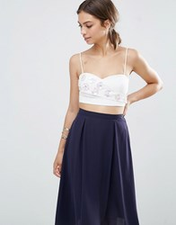 Lavish Alice Embellished Crossover Bralet White